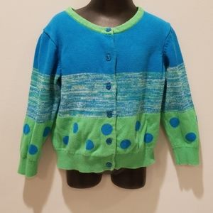 Hanna Andersson Blue and Green Cardigan Sweater